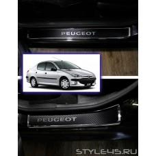 Наклейки на пороги для Peugeot 206